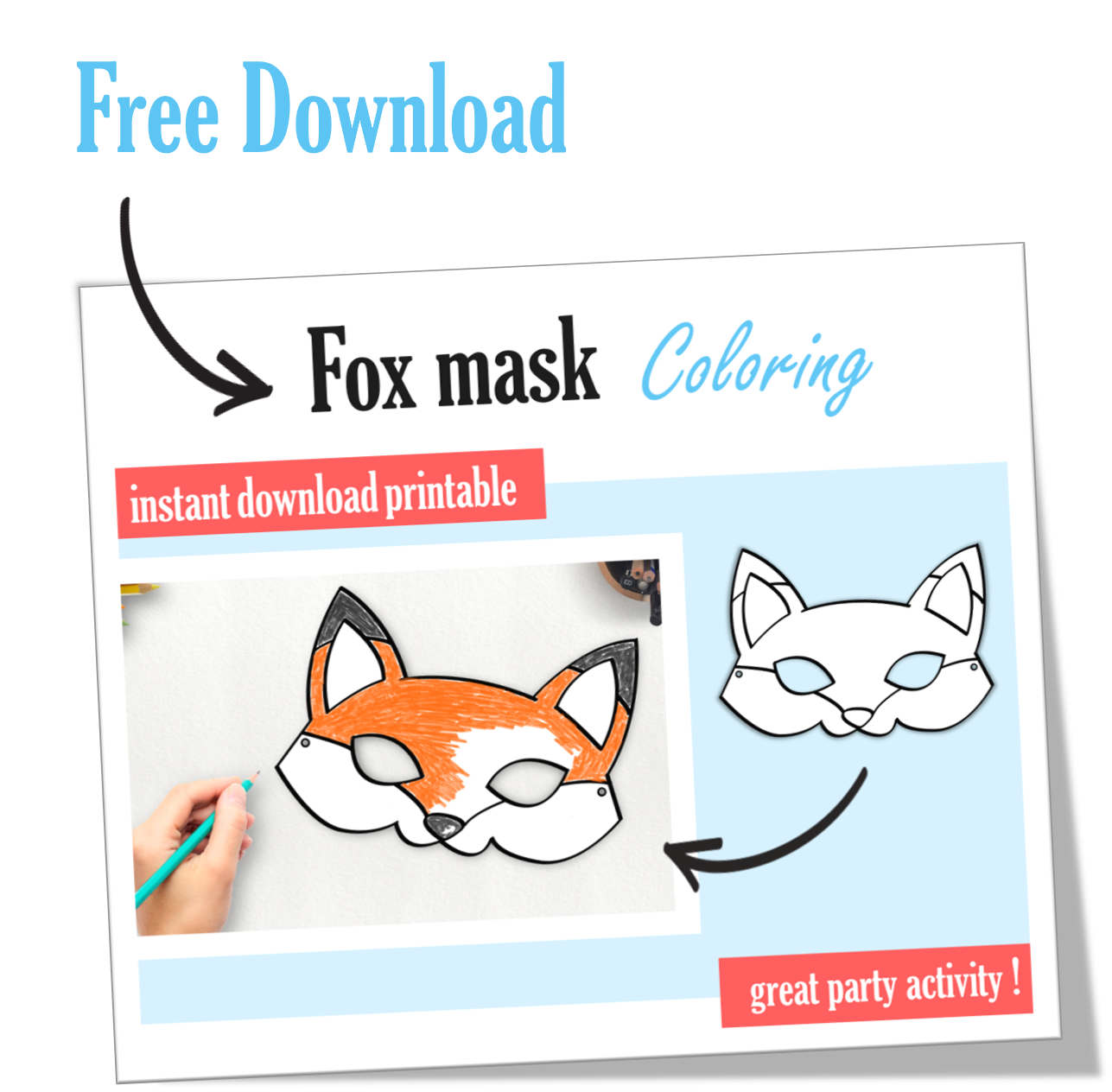 photo about Printable Fox Masks named Setting up Freebie: FOX coloring mask + COUPON Bash Magic Web site