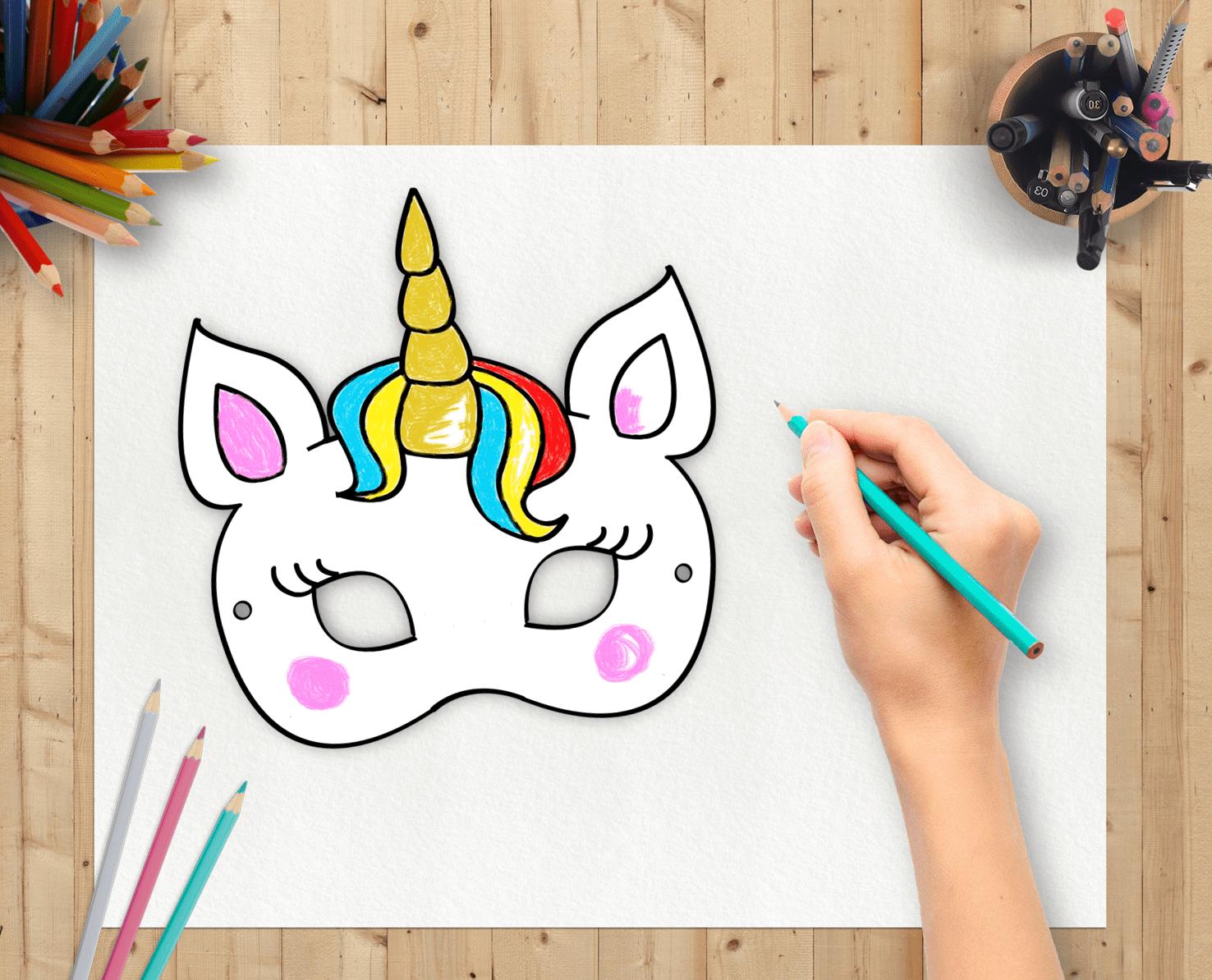 photo about Printable Unicorn Mask named Friday Freebie: UNICORN coloring mask + COUPON Bash Magic