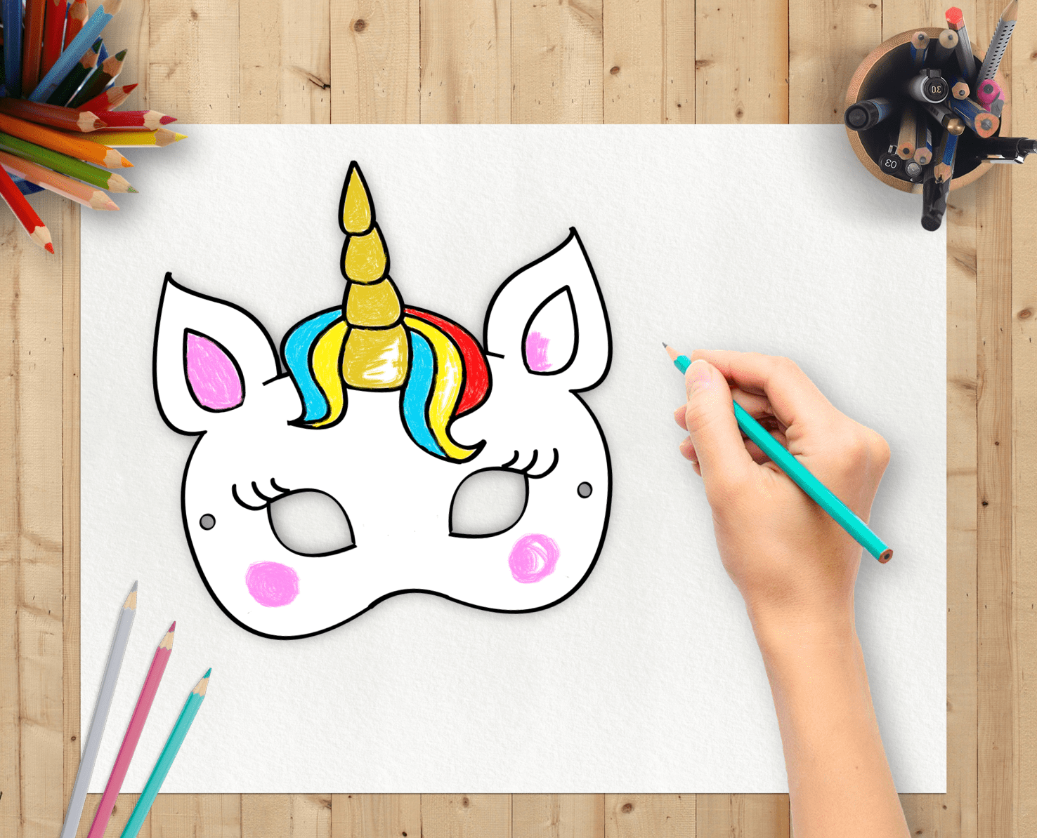 photograph regarding Free Printable Unicorn Mask called Friday Freebie: UNICORN coloring mask + COUPON Get together Magic