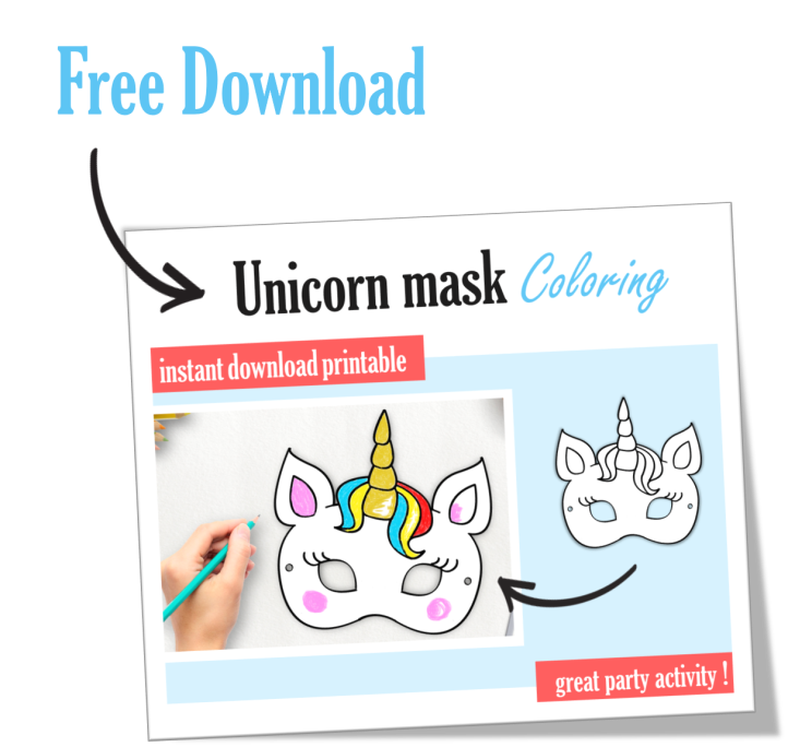 Free Unicorn Mask Coloring Party Favor